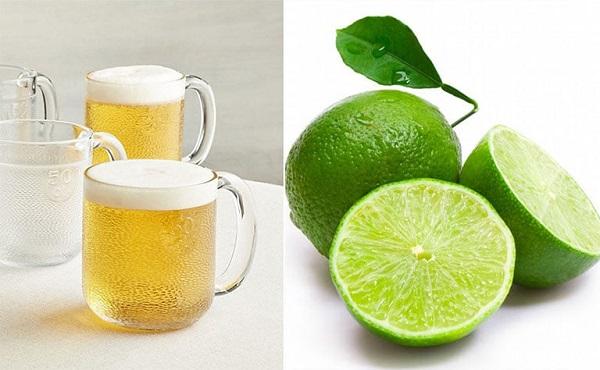 Bia và chanh tươi giúp da trắng sáng đều màu