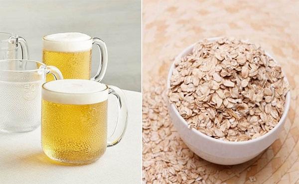 Tắm trắng bằng bia với bột yến mạch