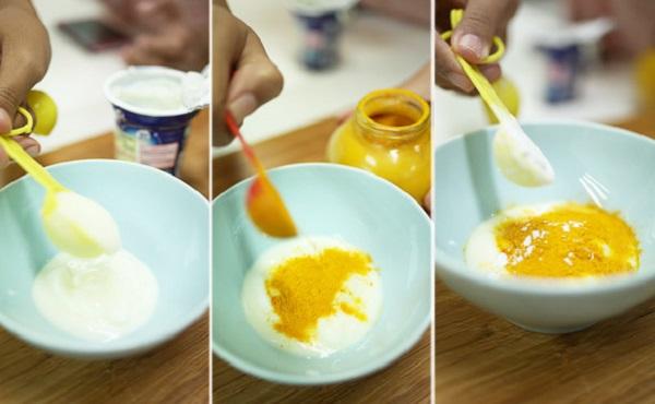 Mặt nạ tinh bột nghệ với sữa không đường